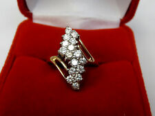 Large Natural 1 CT Diamond Waterfall Cluster Ring 14k Yellow Gold Sz 6.25 GH, VS