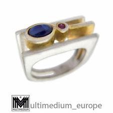 Modernist Silber vergoldet Ring Saphir Rubin sterling silver gilt 🌺🌺🌺🌺🌺