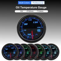 """Universal 2"""" 52mm Öl Temperaturanzeige Zusatz mit Sensor 7 Farbe LED 40-150°"""