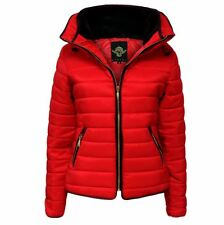 Womens Bubble Puffer Jacket Ladies Quilted Padded Coat Fur Collar Hood Thick Ma1 Red UK (12) Large