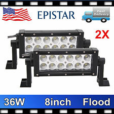 "2X 8""IN 36W Epistar FLOOD LED Work Light Bar Fog Lamp Boat Driving Offroad SCREW"