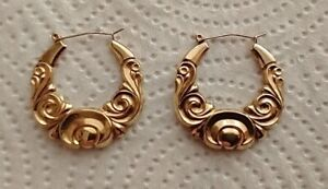 Victorian Style Solid Gold 9ct Earrings