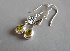 Authentic Bright Green Oval Peridot Long Dangle Earrings/ 925 Sterling Silver