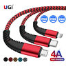 1~3M 2A 4A Quick Charging Micro USB Type C Braided Data Cable For Samsung iPhone