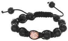 Black Unisex Shamballa Hand Made Macrame Black & Peach Crystals 10mm Bracelet