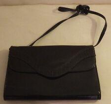 "Almondo Black Clutch Womens Purse Handbag 11"" x 7"" Glossy Shiny"