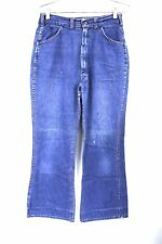 "Vtg 70S ""Big Yank� Indigo Denim Hippie Bell Bottom Jeans Usa Womens 30-28"