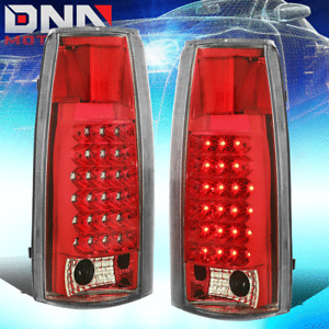 FOR CHEVY/GMC C/K C10 C-1500/2500/3500 CHROME HOUSING RED LENS LED TAIL LIGHTS