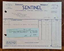 1946 Staffordshire Sentinel Newspaper, Hanley, Stoke on Trent Invoice