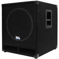 "Seismic Audio Powered 15"" Subwoofer Cabinet PA DJ PRO Band Speaker Active Sub"