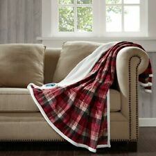 NWT Woolrich Tasha Ultra Soft Oversized Heated Red Plaid Throw Blanket $169 tag