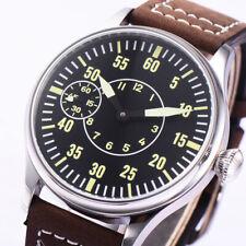 44mm Corgeut steel case black dial 6497 hand winding movement mens watch W22