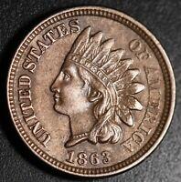 1863 INDIAN HEAD CENT - With LIBERTY & 4 DIAMONDS - AU UNC