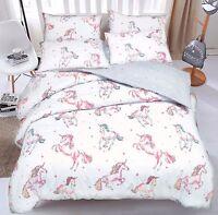 Unicorn Quilt Duvet Cover & Pillowcase Bedding Set Single Double & King