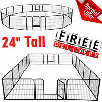 "Heavy Duty Dog Playpen Large 24"" Tall Puppy Animal Pet Metal Fence Medium Kennel"
