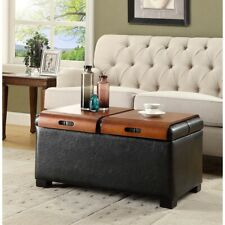 Convenience Concepts Designs4Comfort Storage Ottoman w/Trays, Black - 163020B