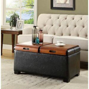 Convenience Concepts Designs4Comfort Storage Ottoman w/Trays, Black - 163020B
