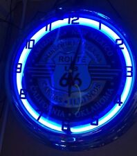 Route 66 US Blue Neon Wall Clock Sign