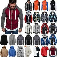 Mens Fluffy Fleece Sweater Slim Fit Hoodie Sweatshirt Zipper Jacket Coat Outwear
