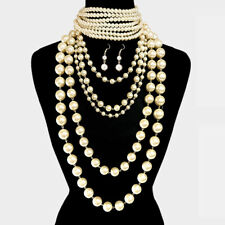 LUXE Statement Gold Cream Pearl Bib Choker 2 Piece Necklace Set Rocks Boutique