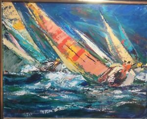 Kerry Hallam Rare & Early Original Oil Painting Of Sailboats On Canvas, Signed