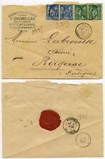 FRANCE REGISTERED 1882 TOURS PEACE + COMMERCE FRANKING PRINTED ENV CHAMBELLAN