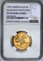 1997 $100 Gold  Proof Floral Emblems of Australia  Kangaroo Paw NGC PF70 UCAM