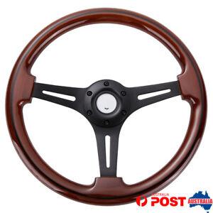 Universal 14''/350mm Classic Wood Steering Wheel Matte Black Spoke w/ Black Trim