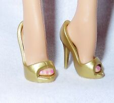 SHOES ~ MATTEL BARBIE DOLL MODEL MUSE PALE MUTED GOLD PEEP TOE PUMPS HIGH HEEL