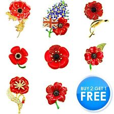 NEW RED ROSE LILY TULIP ANEMONE PIN BROOCH 2020 ENAMEL VINTAGE CRYSTAL FOR WOMEN