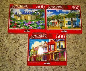 3 Puzzlebug & Artbox Colorful Buildings 500 Piece Jigsaw Puzzles Lot