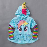 Kids Girls Hoodie My Little Pony Wing Sweater Sweatshirt Coat Zip Jacket Clothes