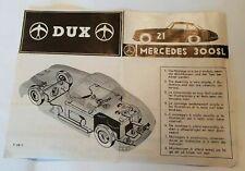 DUX Mercedes 300 SL Beschreibung für Blechspielzeug 50er Jahre