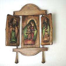 Alte Holzschnitzerei Altar Klappaltar Handarbeit Kunsthandwerk ca. 46 x 36 cm