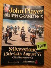 Silverstone August 1977 Programme Racing Motorbike British Main Prize