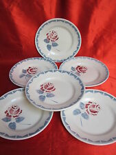 6 assiettes plates faïence de grand mère décor rose rouge feuillage bleu céladon