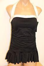 New Ralph Lauren Swimsuit Bikini 1 piece attached Dress Size 14 Black White