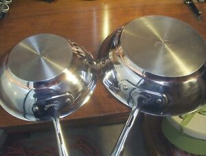 All Clad EMERIL Chef Style Copper Ring (2) Skillets 10 IN  8 IN  Super Nice