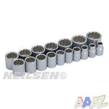 """3/8"""" 17PC 12 Punto Socket Set 8-24mm con carril zócalo"""