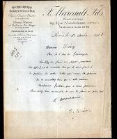 "PARIS (XIV°) SERRURERIE de luxe ""F. MARCAULT Fils Constructeur"" en 1918"