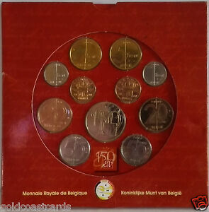 2000 BELGIUM LAST COINS SET IN COMMEMORATIVE PRESENTATION PACK & 150 YEAR MEDAL