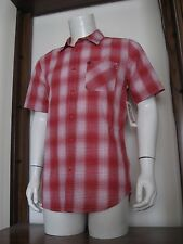 M Mens Quiksilver Short Sleeve Button Shirt Red White Plaid Cotton Polyester NWT