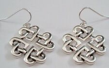 SILVER DANGLING PIERCED EARRINGS IRISH CELTIC CLOVER HEARTS ETERNAL KNOT WEAVE