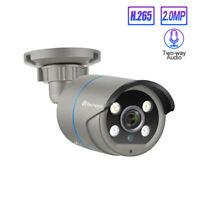 Techage 1080P H.265 POE IP Camera 2-Way Audio Sound Mic 48V Onvif Surveillance