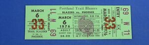 PORTLAND TRAILBLAZERS vs Phoenix :  March 6th, 1976 unused full ticket (nm)