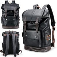 US Large Mens Leather Backpack Laptop Bag Shoulder Rucksack Travel Handbag