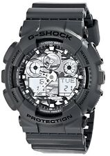 Casio Men's G-Shock Skeleton Dial Ana-Digi Black Silver 200M Watch GA100CF-8A