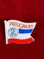 "Paducah Kentucky KY Flag Shape Plastic Tie Lapel Pin 1"" Vtg Red White Blue"