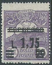 1927 SAN MARINO SOPRASTAMPATO ESPRESSO 1,75 LIRE VARIETà LETTERA L MNH ** - X10