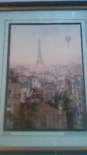 Skyline Scene-Paris- Primitive-M. Delacroix- 5x7 Litho-Framed